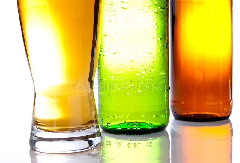 Bottom of the brown and green bottles stock photography