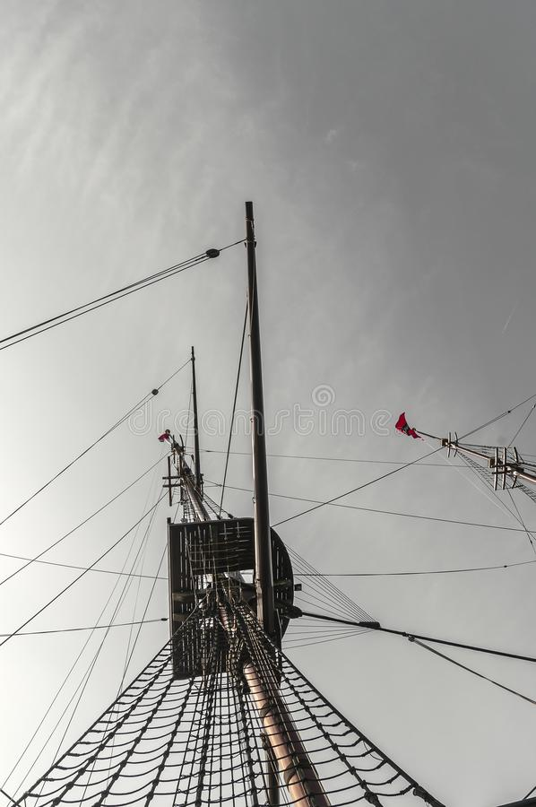 Bottom of the crow nest of a sailship stock image