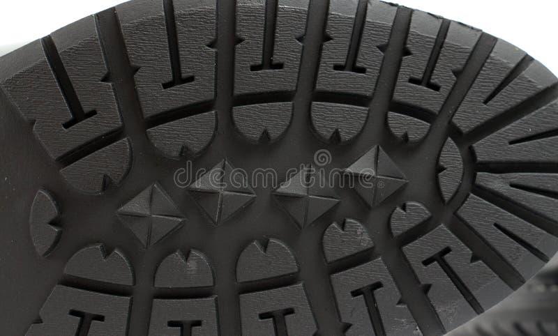 Bottom of a men`s black winter boot, patterns and texture. Picture of a Bottom of a men`s black winter boot, patterns and texture royalty free stock images
