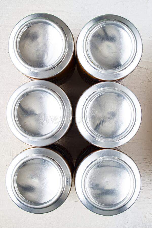 Bottom part of a can beer six pack.  royalty free stock images