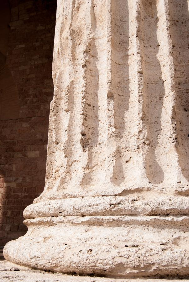 Column with grooves of the Santa Maria sopra Minerva of 30 BC of royalty free stock photography