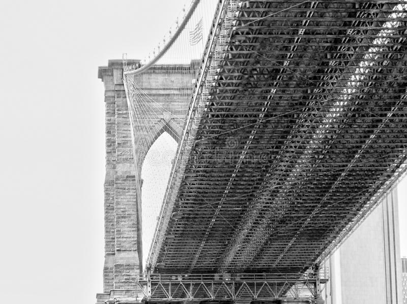 Bottom view of Brooklyn Bridge, New York, USA royalty free stock image