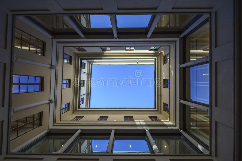 Bottom view of a building stock photo