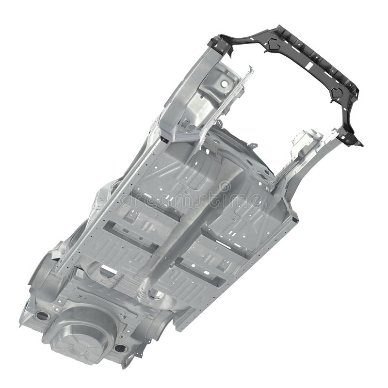 Bottom View Car Frame Without Chassis On White. 3D Illustration ...