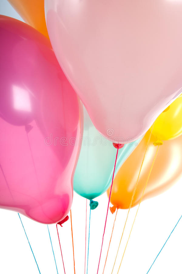 Bottom view of colorful balloons isolated on white royalty free stock image