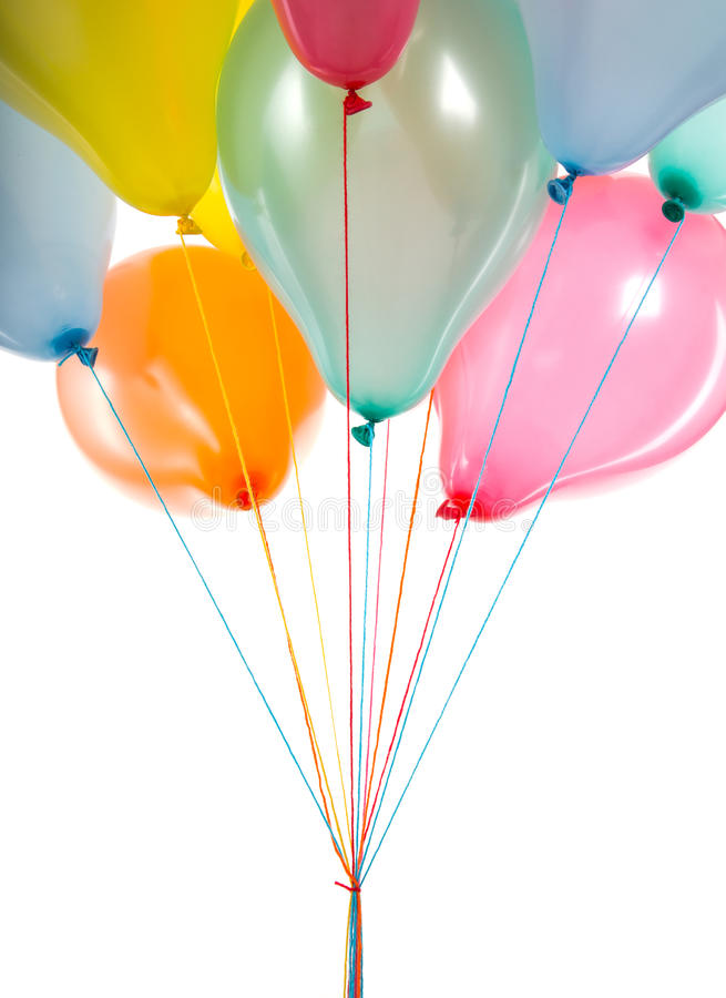 Bottom view of colorful balloons isolated on white stock photography