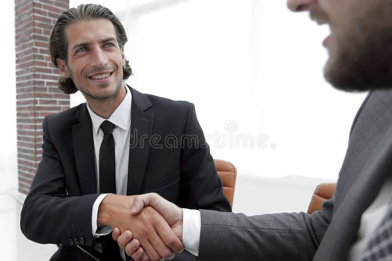 Bottom view. confident handshake of business partners royalty free stock photos