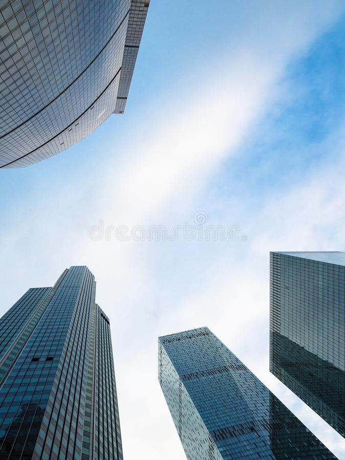Bottom view of glass skyscrapers in f Moscow city royalty free stock image
