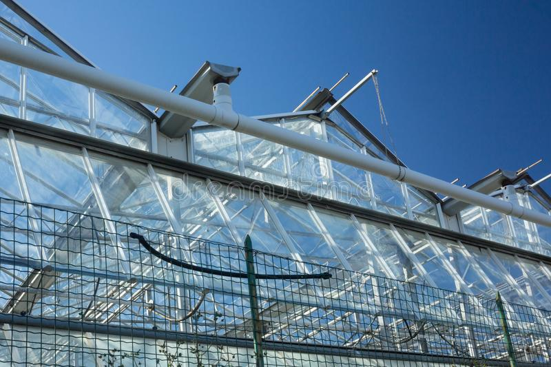 Bottom view of a greenhouse stock images