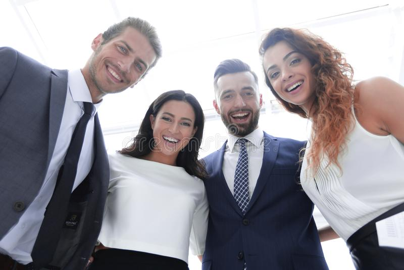 Bottom view.group of successful business people. royalty free stock images