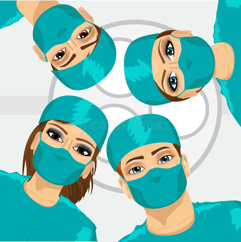Bottom view of group of surgeons royalty free illustration