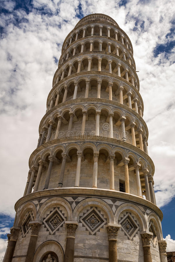 Bottom view of the Leaning Tower of Pisa royalty free stock images