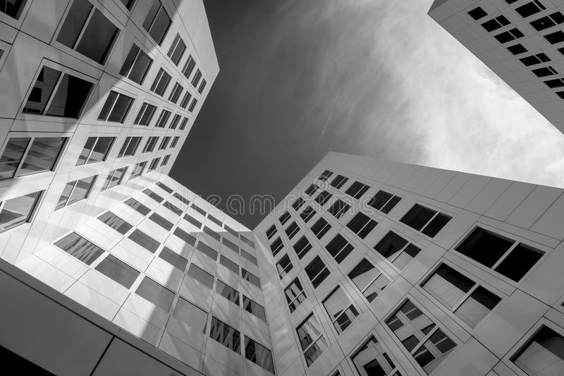 Bottom view of modern architectural buildings stock image