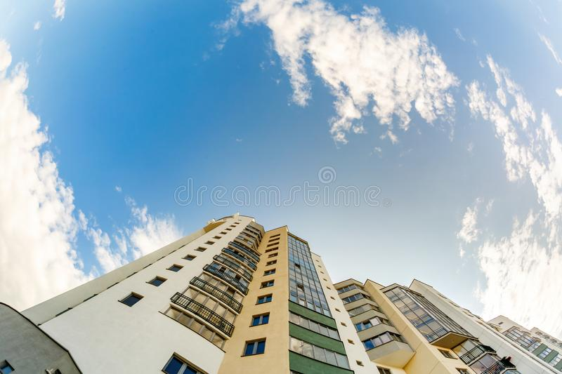 Bottom view of the multi-storey building.  royalty free stock photos