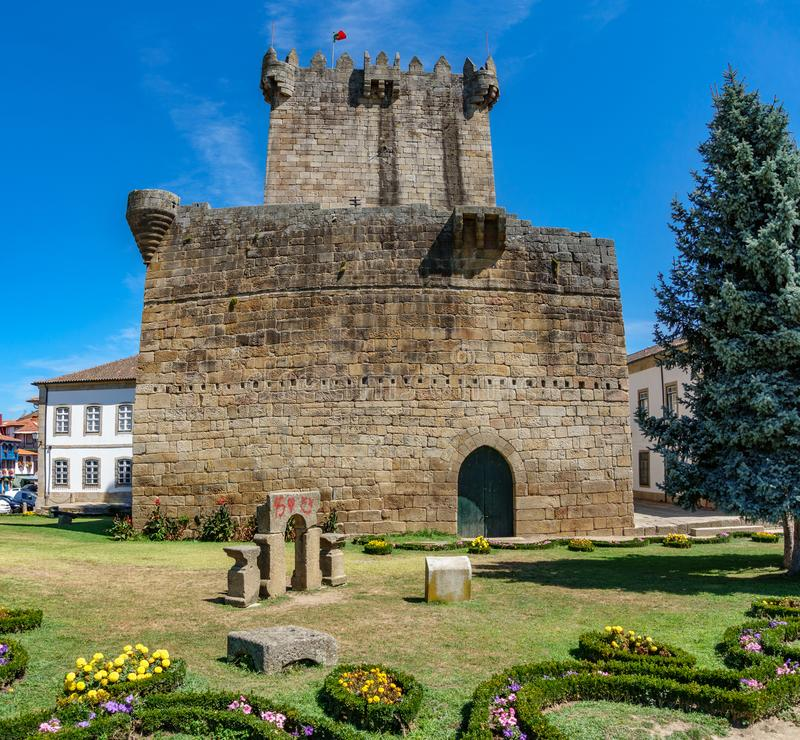 Old tower and castle in Chaves, Portugal. Bottom view of old tower and castle in Chaves, Portugal stock image
