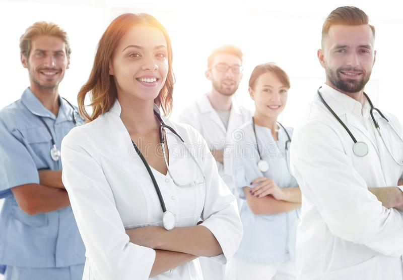 Bottom view.professional team of doctors medical center royalty free stock images