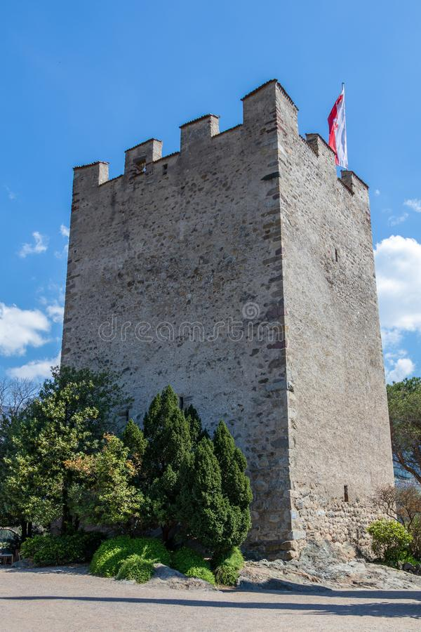 Bottom view on Pulverturm Powder Tower of the old castle in Meran. Province Bolzano, South Tyrol, Italy stock photo
