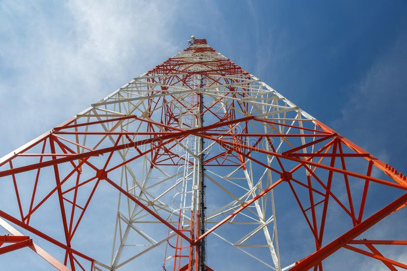 Bottom view of a telecommunications tower royalty free stock images