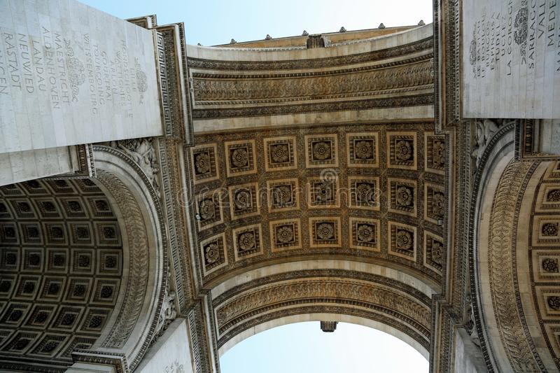 Bottom View of triumphal arch also called Arc de Triomphe in fre. Bottom View of Triumphal Arch on champs elysees also called Arc de Triomphe in french language stock photography