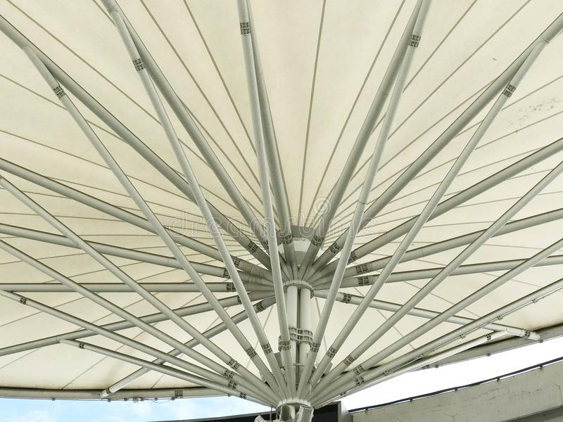 Bottom view of white canvas roof royalty free stock photo