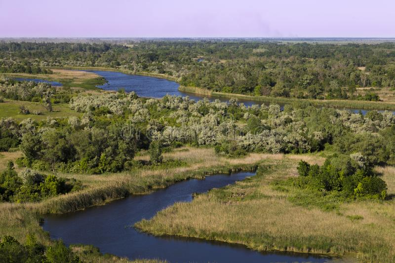Bottomland of Vorskla river . Top view. Ukraine. Europe stock images