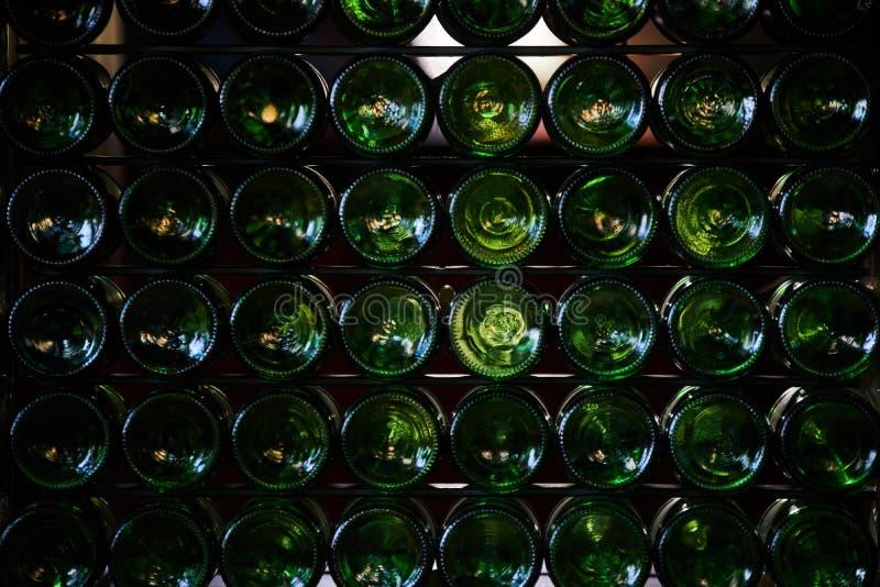 Bottoms of beer bottles stock images