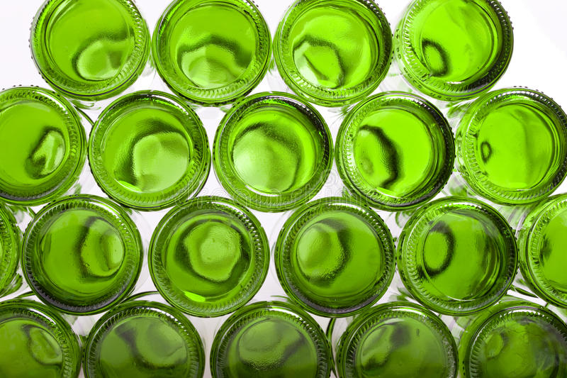 Bottoms of empty glass bottles royalty free stock image