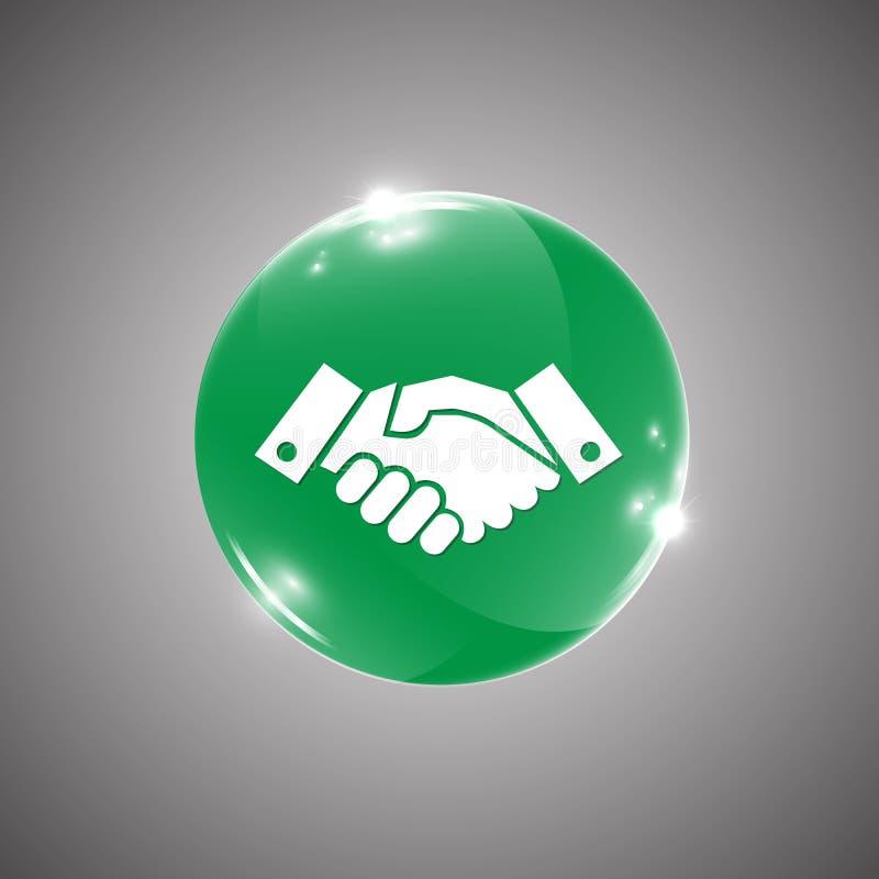 Bottone arrotondato lucido con il segno della stretta di mano illustrazione di stock