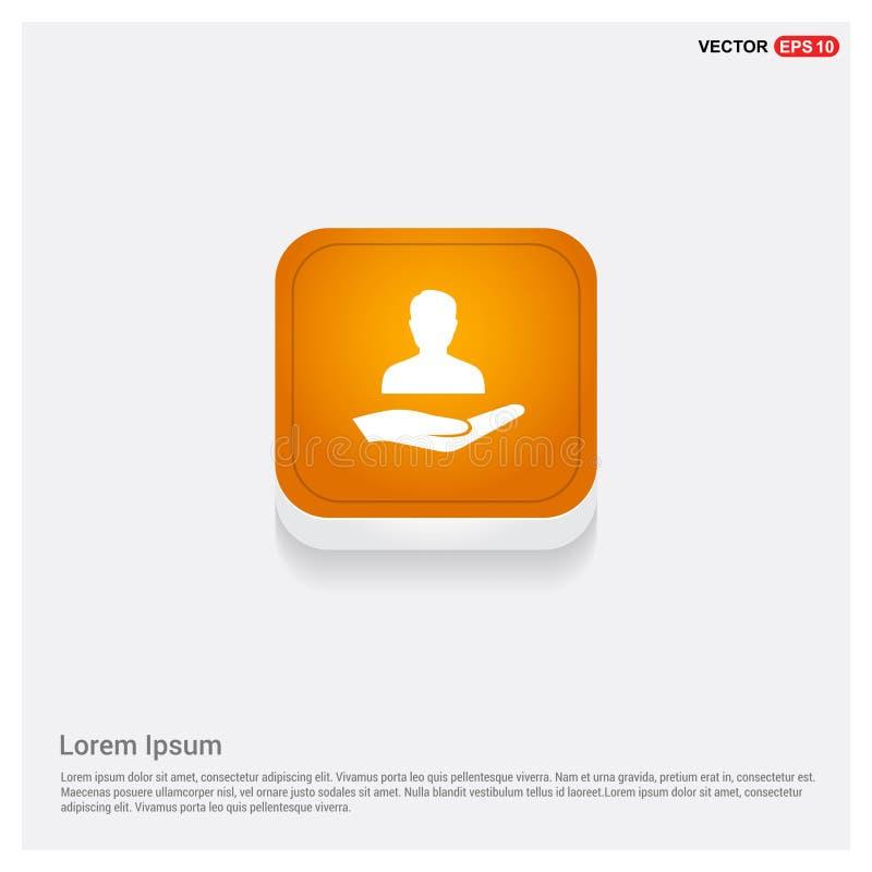 Bottone astratto arancio di web dell'icona disponibila dell'utente illustrazione vettoriale