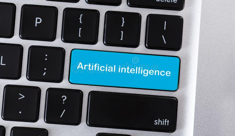 Bottone blu della tastiera con intelligenza artificiale del testo fotografia stock libera da diritti