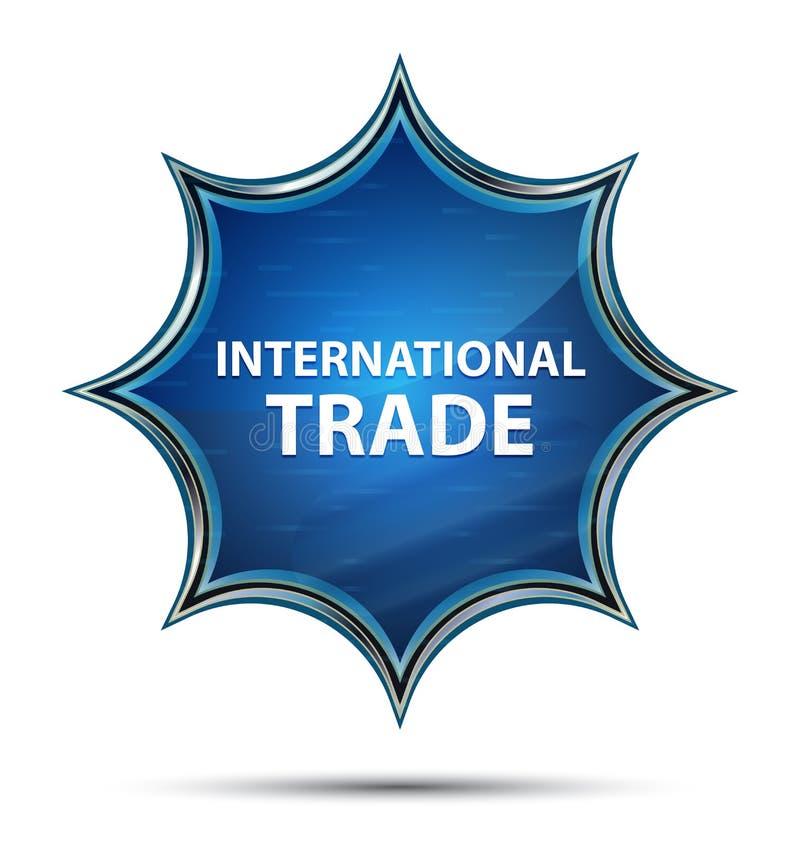 Bottone blu dello sprazzo di sole vetroso magico del commercio internazionale illustrazione vettoriale