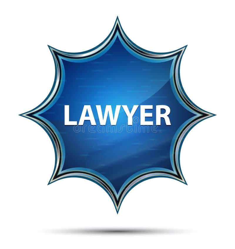 Bottone blu dello sprazzo di sole vetroso magico dell'avvocato illustrazione di stock