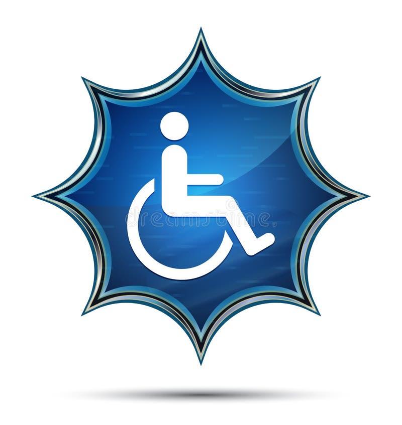 Bottone blu dello sprazzo di sole vetroso magico dell'icona di handicap della sedia a rotelle illustrazione di stock