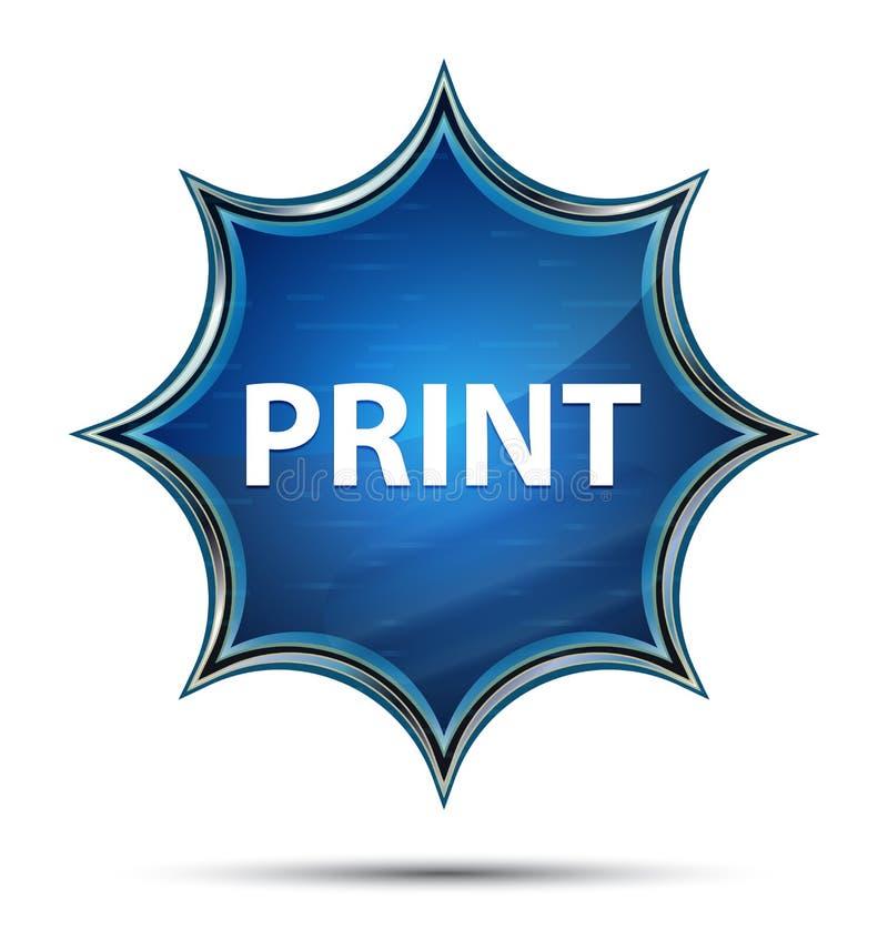 Bottone blu dello sprazzo di sole vetroso magico della stampa illustrazione di stock