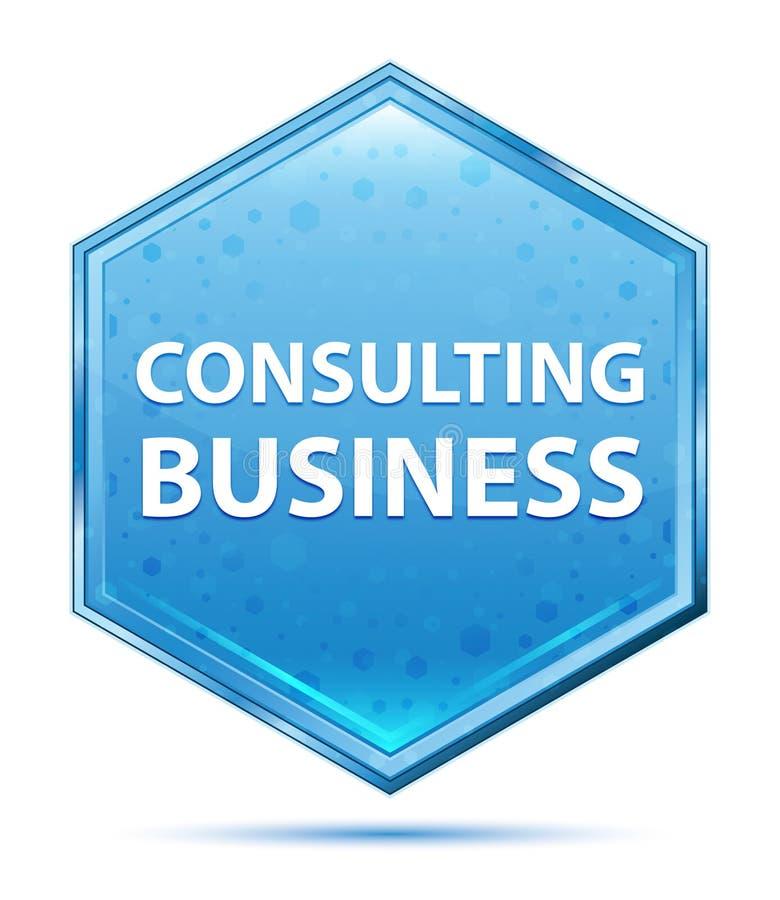 Bottone blu di cristallo consultantesi di esagono di affari illustrazione di stock