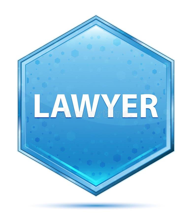 Bottone blu di cristallo di esagono dell'avvocato royalty illustrazione gratis
