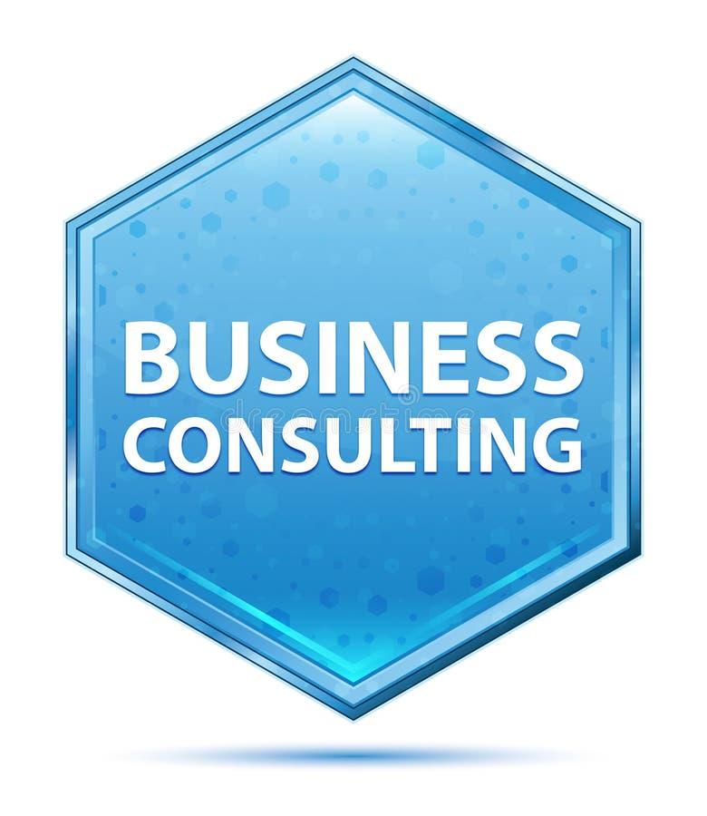 Bottone blu di cristallo di esagono della consulenza aziendale illustrazione di stock