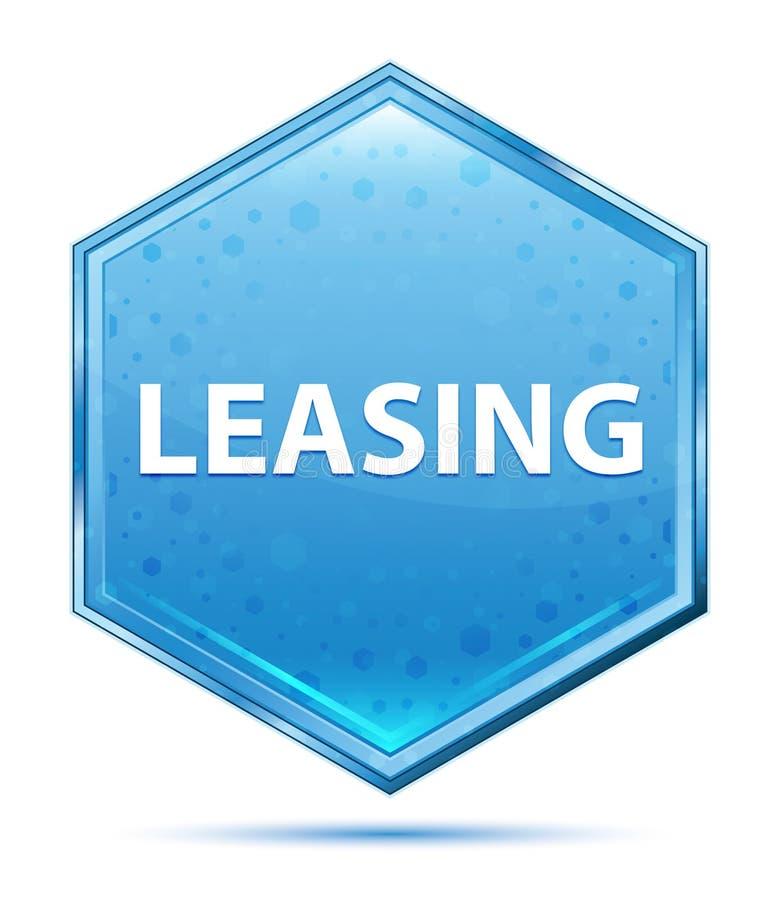 Bottone blu di cristallo di leasing di esagono illustrazione di stock