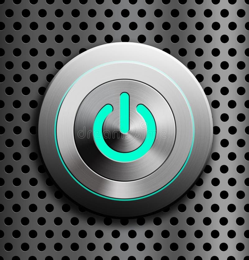 Bottone blu di potere del LED illustrazione di stock