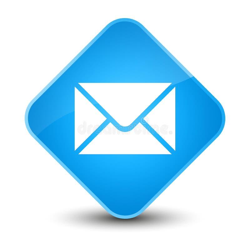 Bottone blu elegante del diamante dell'icona del email ciano illustrazione vettoriale