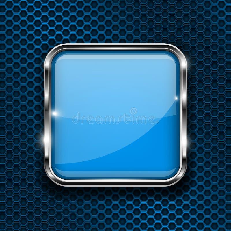 Bottone blu su fondo perforato Icona quadrata di vetro 3d con la struttura del metallo royalty illustrazione gratis