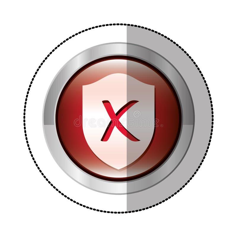 bottone circolare metallico dell'autoadesivo con lo schermo dentro con forma chiusa di simbolo illustrazione di stock
