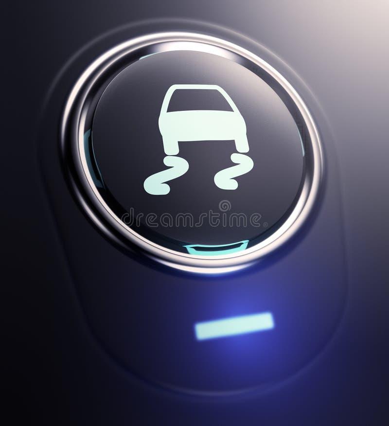 Bottone con il simbolo di controllo della trazione illustrazione vettoriale