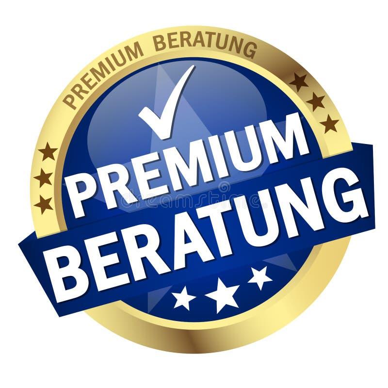 Bottone con l'insegna ( consultantesi premio; in tedesco illustrazione di stock