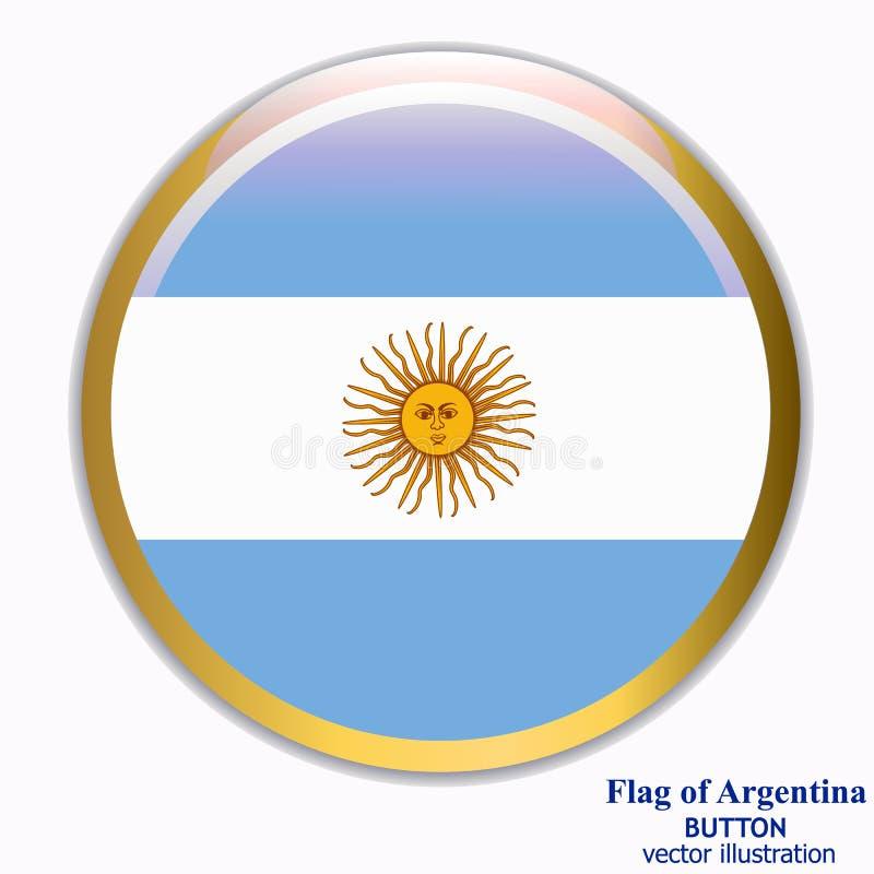 Bottone con la bandiera dell'Argentina Vettore illustrazione vettoriale