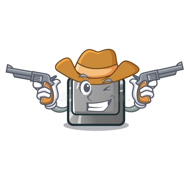 Bottone del cowboy alt nella forma del fumetto illustrazione vettoriale