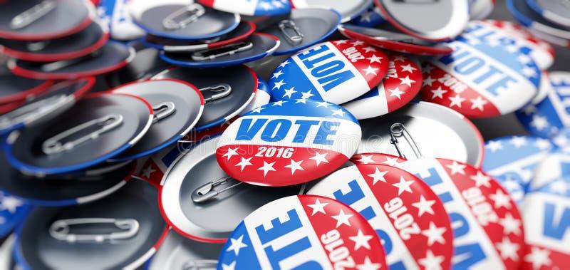 Bottone del distintivo di elezione di voto per 2016 illustrazione di stock