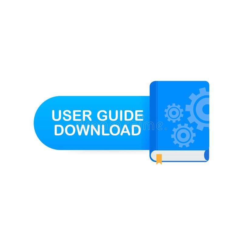 Bottone del libro di download Guida dell'utente di concetto per la pagina Web, insegna, media sociali Illustrazione di vettore illustrazione di stock