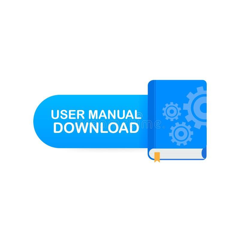 Bottone del libro di download Libro manuale dell'utente di concetto per la pagina Web, insegna, media sociali Illustrazione di ve illustrazione vettoriale