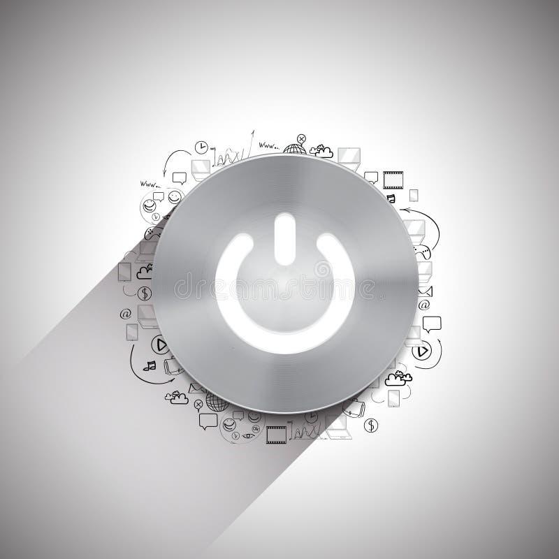 Bottone del metallo con altri elementi di progettazione di scarabocchio illustrazione vettoriale